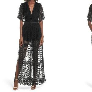 Socialite Lace Romper Dress- Black